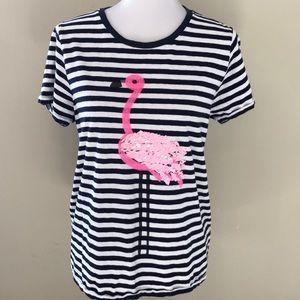 🌿J. Crew Striped Pink Flamingo Top